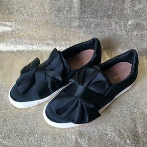 Halogon Black Satin Slip-on Sneakers